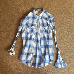Hollister Blue White and Green Shirt